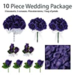 10-Piece-Wedding-Package-Silk-Wedding-Flowers-Bridal-Bouquets-Purple-Bouquets
