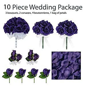 10 Piece Wedding Package - Silk Wedding Flowers - Bridal Bouquets - Purple Bouquets 20