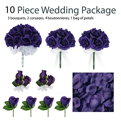 10-Piece-Wedding-Package-Silk-Wedding-Flowers-Bridal-Bouquets-Purple-Bouquets