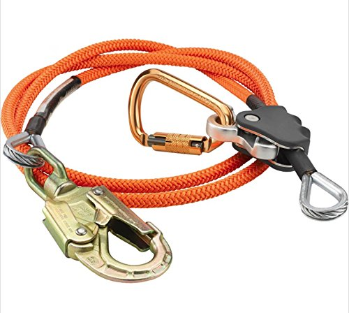 Lanyard Polyester Rope - ProClimb Steel Wire Core Flip Line Kit (1/2 in) - Better Grab Rope Grab Adjuster, Adjustable Lanyard, Low Stretch, Cut Resistant - for Fall Protection, Arborist, Tree Climbers (Orange - 14 feet)