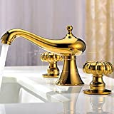 Furesnts Modern home kitchen and bathroom faucet Titanium gold plated European continental basin Faucets copper mirror-plated lavatory Faucets,(Standard G 1/2 universal hose ports)