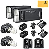 GODOX AD200 TTL 2.4G HSS 1/8000s 2Pcs Pocket Flash Light Double Head 200Ws with 2900mAh Lithium Battery Flashlight Flash Lightning+GODOX X1T-C 2Pcs Wireless Transmitter for Canon EOS series cameras