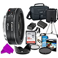 Canon EF 40mm f/2.8 STM Lens with Professional Accessory Kit (10 Pieces)
