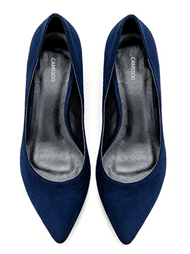 Kitten Women Slip Pumps Classic Dress CAMSSOO on Blue Shoes Pointed for Velvet Heels Toe dqvnqpU