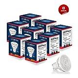 Light Blue™ (8 PACK) LED 6-Watt Dimmable 50W Equivalent, GU10 MR16 High Power Warm White Light Bulbs, UL-Listed