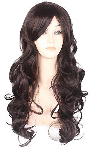 AneShe Long Wavy Curly Hair Wigs Natural Brown Hair for Women (Dark Brown)