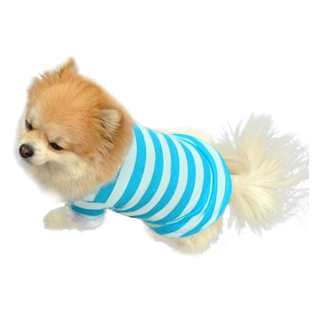 Wakeu Pet Supplies Pet Dog T Shirt Clothes Lapel Stripe Puppy Summer