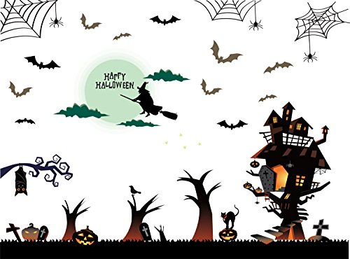 (TOTOMO Halloween Wall Window Decals Stickers Cling Decorations for Indoor Party Decor Black Bats Witches)