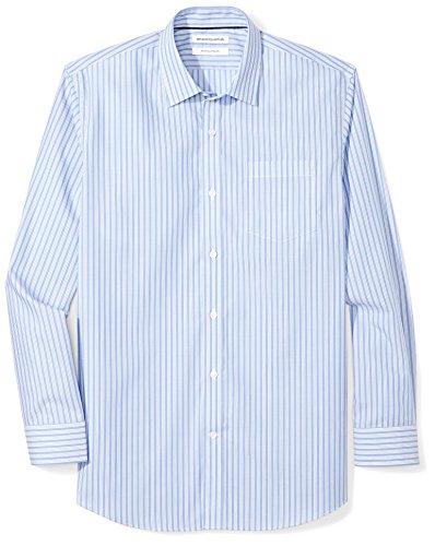 (Amazon Essentials Men's Regular-Fit Wrinkle-Resistant Long-Sleeve Stripe Dress Shirt, Blue/White Stripe, 18