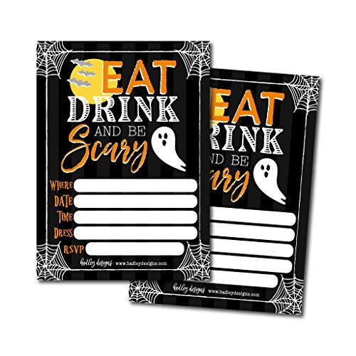 25 Eat Drink and Be Scary Halloween Invitation Cards for Kids Adults, Vintage Birthday or Wedding Bridal or Baby Shower Paper Invites, Black Cat Ghost Costume, DIY Horror Spooktacular House Bash Idea -