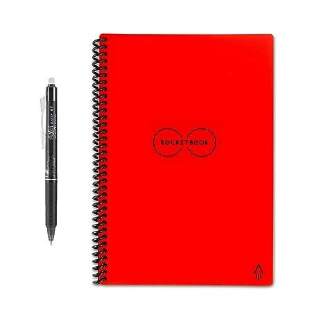 Image result for Rocketbook Everlast LETTER - Erasable, Reusable Wirebound Smart Notebook - Red
