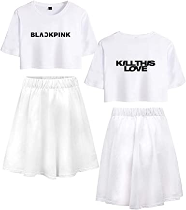 ZIGJOY Black Pink Kill This Love Negro-Blanco Estampado T-Shirt ...