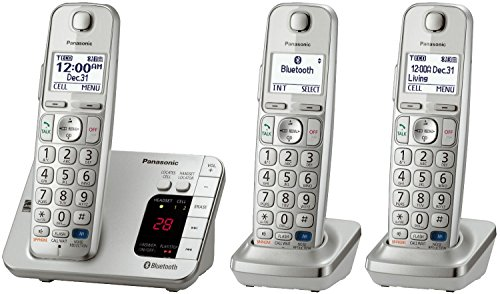 Panasonic KX-TGE263S Link2Cell Bluetooth Enabled Phone with Answering Machine, 3 Cordless Handsets (Certified Refurbished) (Handsets Bluetooth Enabled)