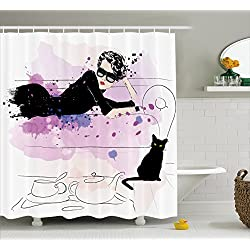 Fuchsia Lime Green Blue Couple of Cats Floral Friends Ornament Vibrant Colors Ornament Artistic Fabric Bathroom Decor Set with Hooks 36 W x 72 L inches Ambesonne Cat Stall Shower Curtain