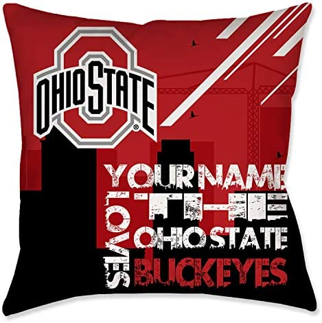 Personalized The Ohio State Buckeyes Skyline Toss Pillow