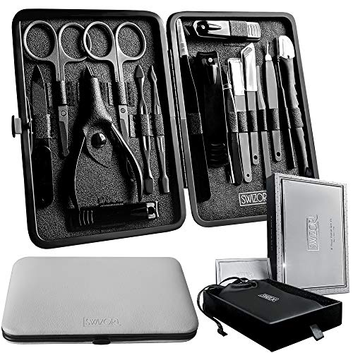 Swizor Pedicure and Manicure Set – Luxury Fingernail & Toenail Grooming Kit for Men & Women – Professional Nail Care Essentials for Personal Use, Salon, Spa, Travel – Stainless Steel in Leather Case