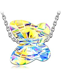 """Butterfly Necklace """"Chasing Dreams"""" 925 Sterling Silver Animal Designed Pendant Necklace, Crystals from Swarovski"""