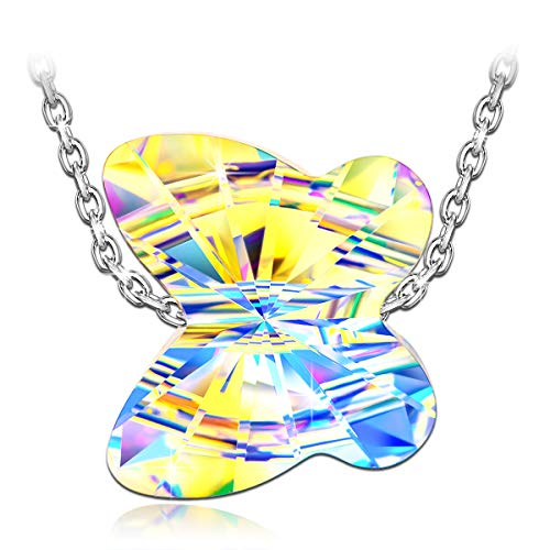 (LADY COLOUR Necklaces for Women Aurora Crystal Necklace Idea for Her Butterfly 925 Sterling Silver Pendant Necklace Swarovski Crystal Fine Jewelry Animal Women Birthday Chasing Dream)