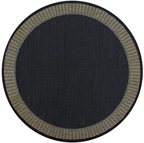 Couristan Recife 1681 2000 Wicker Round Rug, 7-Feet 6-Inch, Stitch Black Cocoa