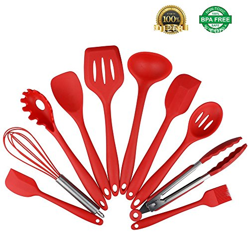 Heat Spoonula (Feskio 10 Pieces Silicone Kitchen Cooking Utensils Heat Resistant Nonstick Baking Tool Set Include Pasta Spoon,Slotted Spoon,Tongs,Spoonula,Ladle,Turner,Basting Brush,Whisk,Large Spatula,Small Spatula)