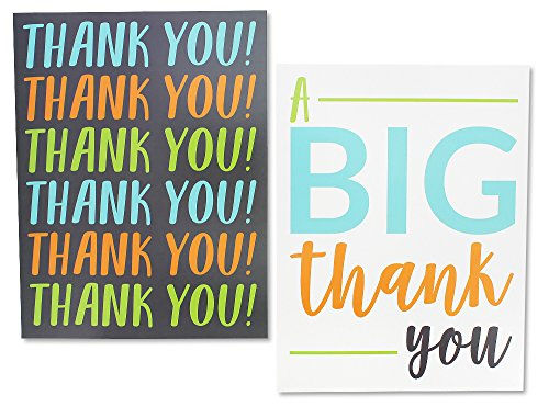 12 Pack Jumbo Thank You Greeting Cards, 6 Assorted Multicolor Designs, Bulk Box Set Variety Assortment, Envelopes Included, 8.5 x 11 Inches Photo #4
