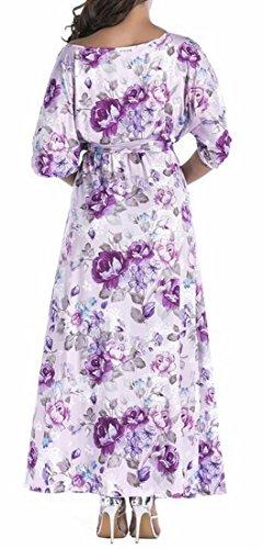 Femmes Domple Plage D'été Robe Maxi Bohème Floral Décontracté Avec Ceinture 6