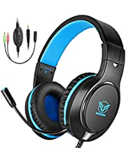 BOVON Xbox One Headset Stereo Gaming Headset for PS4, PC, Lightweight Over Ear Headphones with LED Light, Noise Canceling Mic, Adjustable Headband, Soft Memory Earmuffs for Nintendo Switch Games