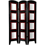 Oriental Furniture 5 1/2 ft. Tall Photo Shoji Screen - 3 Panel - Black