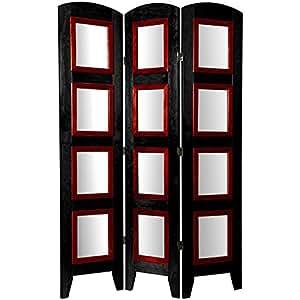 Oriental Furniture 5 1/2 ft. Tall Photo Shoji Screen - 3 Panel - Black