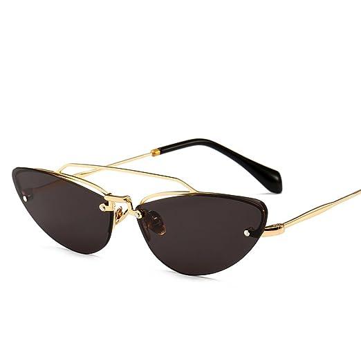 1ed469c9938 Half Frame Rimless Cat Eye Sunglasses Women Sexy Vintage Retro Sun Glasses  Small (black)