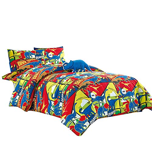WPM Kids Collection Bedding 4 Piece Multi Color Twin Size Comforter Set Sheet Pillow sham Blue Dinosaur Toy Fun Wild Park Jungle Print Design (Roar Dinosaur, Twin Comforter) ()