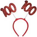 """Beistle 60590-100 """"100"""" Glittered Boppers. The red felt numbers of 100 are glittered on the one side and attached to a red felt covered headband. They are one size fits most. These are perfect boppers for the person turning 100 for their birt..."""