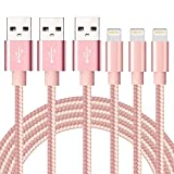 Ulimag Lightning Cable 3Pack 3FT 6FT 10FT Nylon Braided Certified iPhone Cable USB Cord Charging Charger for Apple iPhone 7, 7 Plus, 6, 6s, 6+, 5, 5c, 5s, SE, iPad, iPod Nano, iPod Touch (Pink)