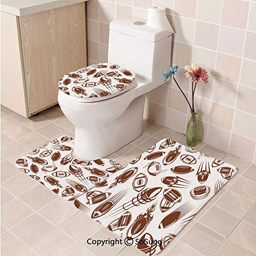 3pcs/Set Football Style Soft Comfort Flannel Toilet Mat,Retro Comicbook Style Flying Spinning Balls with Motion Trails Sports Competition Decorative,Plush Bathroom Decor Mat with Non Slip Backing,Bro ()