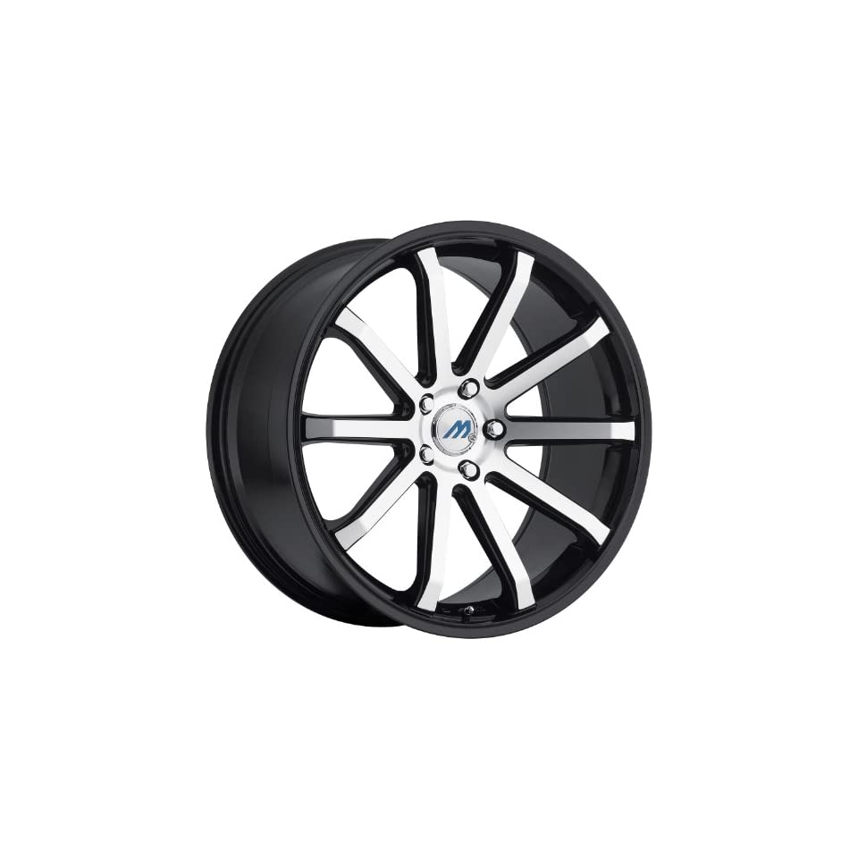 Mach M10 19 Black Machined Wheel / Rim 5x4.5 with a 35mm Offset and a 72.56 Hub Bore. Partnumber M10 1985LL35FBM