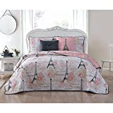 5pc Girls Pink Black White King Quilt Set, Paris Themed Bedding Boho Bohemian Rich Blush Eiffel Tower Chic Elegant France French Modern Cute Adorable Butterfly Rose Floral, Microfiber