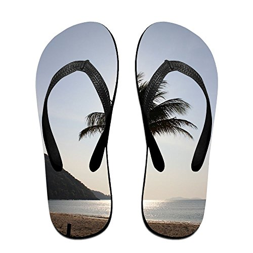 Jinqiaoguoji Custom Summer Palm Tree Beach Thailand Tree Tropical Summer Sea Travel Ocean Fake Womens Sandals Beach Sandals Pool Party Slippers Flip (Palm Tree Slipper)