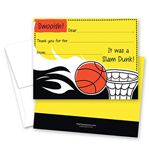 20 NBA Fantasy Basketball Kids Fill-in Birthday Thank You Cards