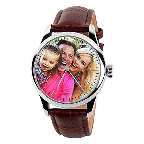 (Personalized Custom Wrist Watch with Photo Or Message Laser Engraving Waterproof Watches for Mens Womens Gift)