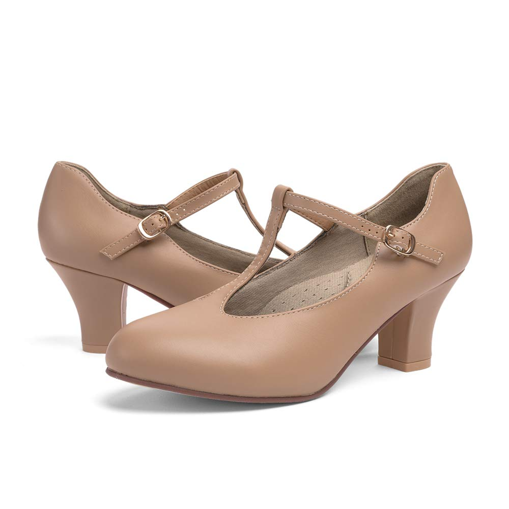 STELLE 2.5'' T Strap Character Dance Shoes for Women Big Kid (Tan, 9.5M) by STELLE