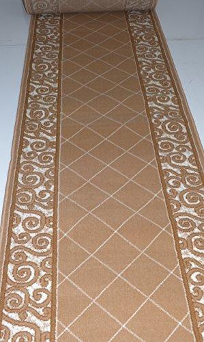 Teppich Läufer nach Maß Meterware Stufenmatten Bettumrandung Beige 1444 Breite 100 cm Länge nach Wahl lfm. 16,90 Euro Muster ca 20 x 20 cm