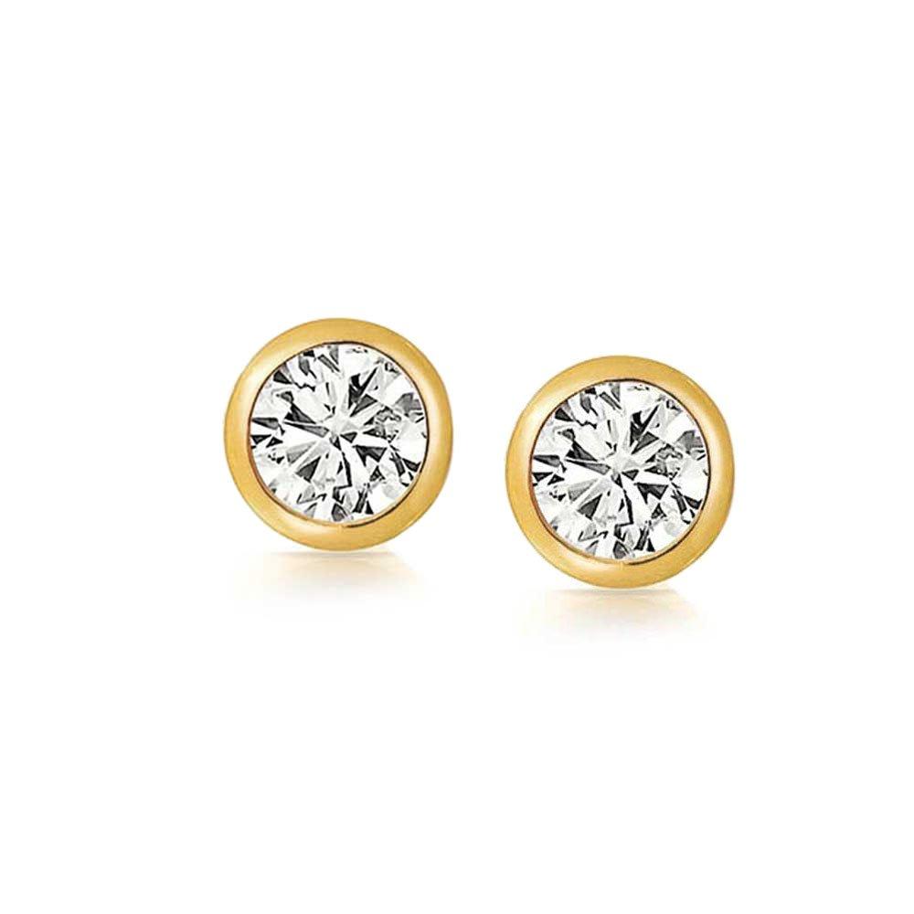 633fd75c9680 Bling Jewelry Hombre Unisex Biel Oro Vermeil Conjunto Corte Redondo CZ stud  Arete 6mm  Amazon.es  Joyería