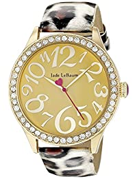 Womens Leopard Pattern Leather Strap Gold Tone Dial Watch Jade LeBaum - JB202758G