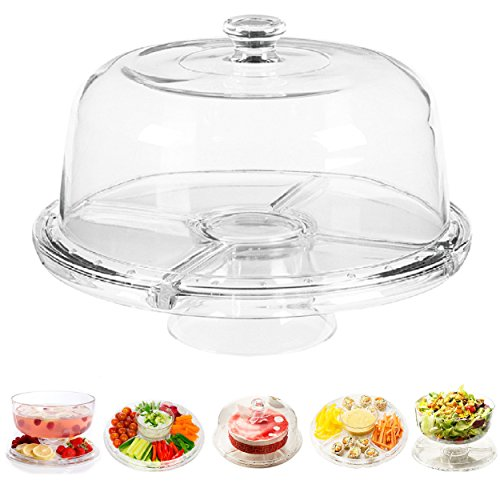 Perlli - Cake Stand Multifunctional Serving Platter and Cake Plate With Dome (6 Uses) - Pedestal Dip