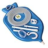 The Perfect Enema Bag Kit in Blue Color for Colon Cleansing With Silicone Hose (2 quart, open top)