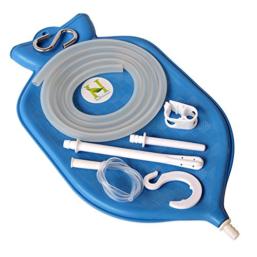 (HealthGoodsIn - The Perfect Enema Bag Kit in Blue Color for Colon Cleansing with Silicone Hose (2 Quart, Open Top))