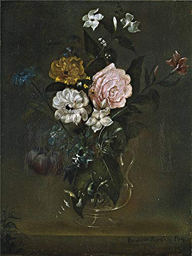 'Romero Juan Bautista Florero De Cristal Con Rosas Y Jazmines End Of 18 Century Early 19 Century ' Oil Painting, 30 X 40 Inch / 76 X 101 Cm ,printed On High Quality Polyster Canvas ,this Amazing Art Decorative Prints On Canvas Is Perfectly Suitalbe For Garage Gallery Art And Home Decor And Gifts