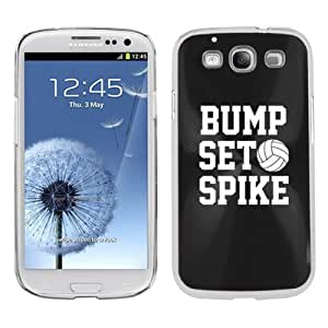 Samsung Galaxy S III S3 Aluminum Plated Hard Back Case Cover Bump Set Spike Volleyball (Black)