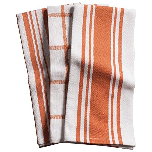 - KAF Home Centerband/Basketweave/Windowpane - Set of 3 Kitchen towel (Orange)