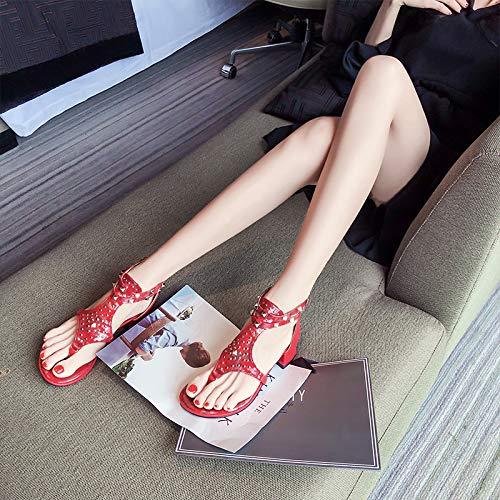 Zapatos Con Gruesos Dedo Verano Romanos Pin Del De Chanclas Tacón Bajo Remaches Sandalias Black Mujer Femenino Shukun Pie qXx7pp